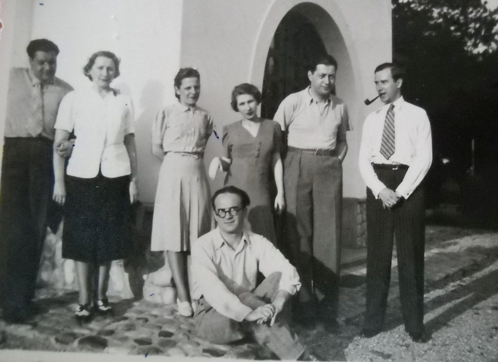 HAIG ACTERIAN, MARIETTA SADOVA, NINA MARES-ELIADE,MARIANA VIFOREANU-MICESCU, PETRISOR VIFOREANU, un necunoscut, MIRCEA ELIADE 1939, LA CUNUNIA LUI HAIG CU MARIETTA